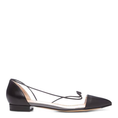 Charlotte Olympia Black Leather Transparent Ballet Flats