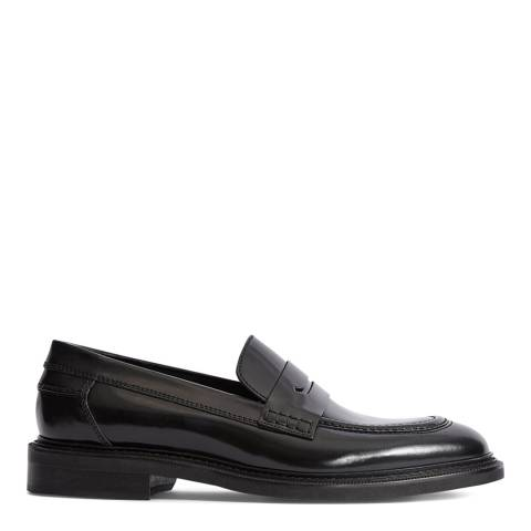 Reiss Black Leather Spey High shine Loafer