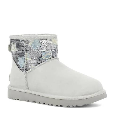 UGG Grey Violet Classic Mini Sequin Star Boots