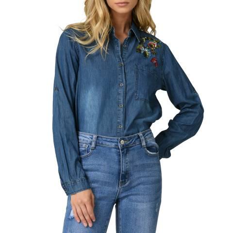 Comptoir Des Parisiennes Blue Embroidered Denim Shirt