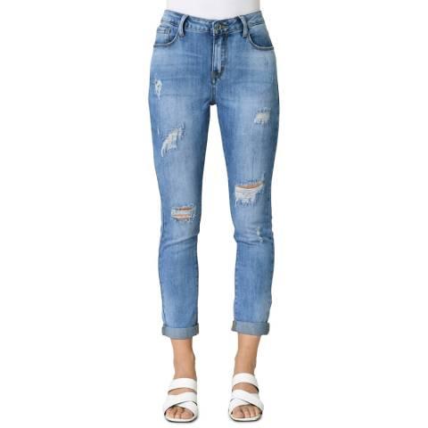 Comptoir Des Parisiennes Blue Slim Ripped Stretch Jeans