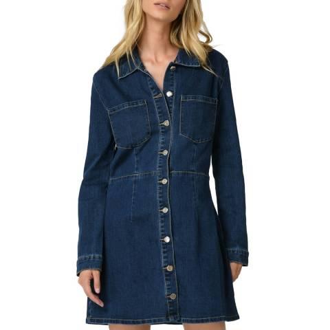 Comptoir Des Parisiennes Blue Long Sleeve Denim Dress