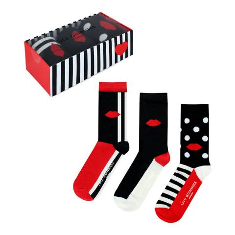 Lulu Guinness Red/White/Black 3 Pack Gift Box