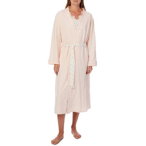 Cottonreal Dittsy Flora Drop/Melon Sleeve Night Dress And Kimono Wrap, 2 Pack Set