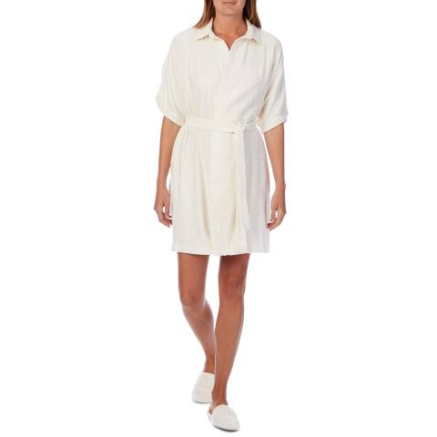 Cottonreal Ivory Bamboo Cotton Terry Collared Robe And Slippers