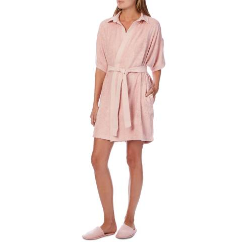 Cottonreal Rose Bamboo Cotton Terry Collared Robe And Slippers