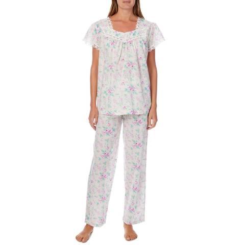 Cottonreal Multi Deluxe Cotton Linen Blend Antique Rose Cap Slip-On PJ Set