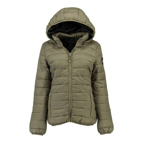 Geographical Norway Grey Areca Hooded Quilted Jacket