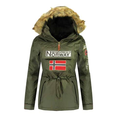 Geographical Norway Khaki Bridget Pull Over Parka Jacket