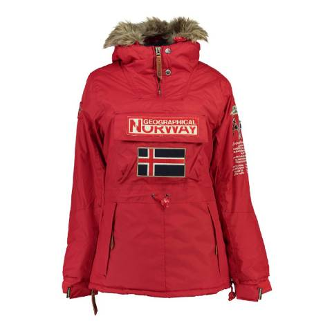 Geographical Norway Red Bridget Pull Over Parka Jacket