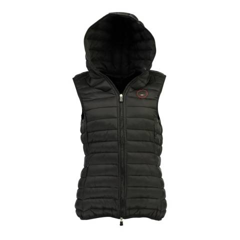 Geographical Norway Black Vafne Hooded Quilted Gilet