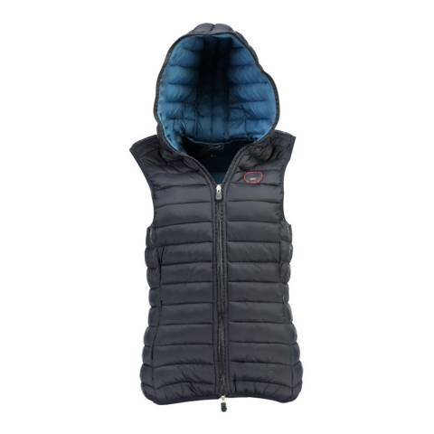 Geographical Norway Navy Vafne Hooded Quilted Gilet