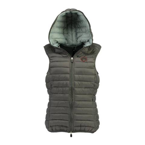 Geographical Norway Taupe Vafne Hooded Quilted Gilet