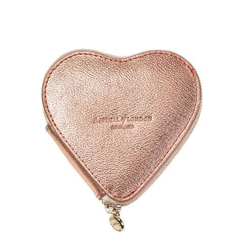 Aspinal of London Rose Gold Metallic Heart Coin Purse