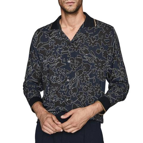 Reiss Navy Majesty Ombre Floral Shirt