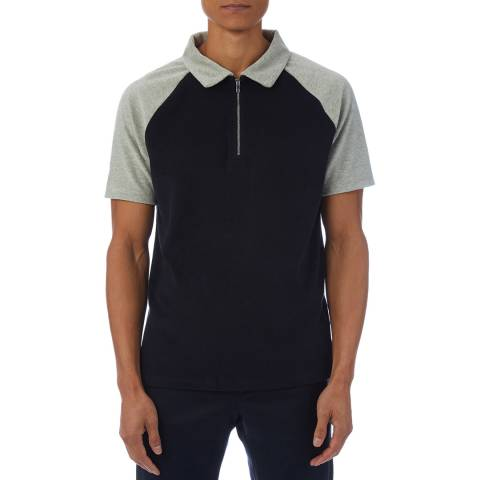 Reiss Navy/Grey Earls Zip Cotton Polo Shirt