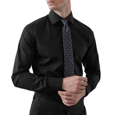 Reiss Black Oxider Slim Cotton Stretch Shirt