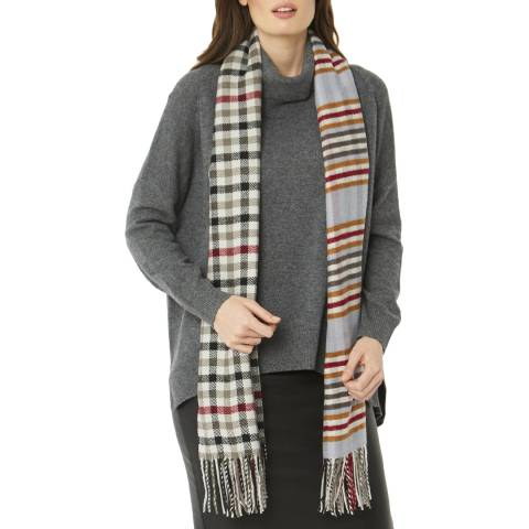 JayLey Collection Grey Check Cashmere Blend Scarf