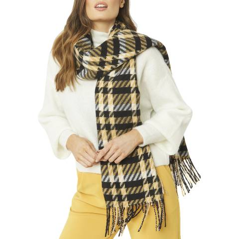 JayLey Collection Black/Yellow Check Cashmere Blend Scarf