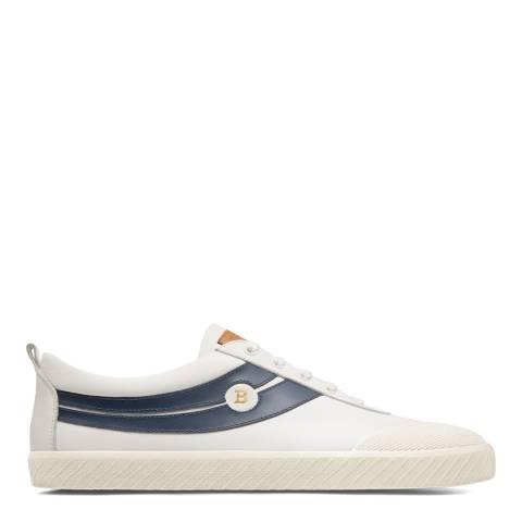 BALLY White Smake Leather Plain Sneakers