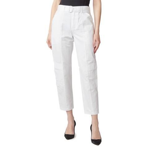 J Brand White Athena Surplus Cotton/Linen Trousers