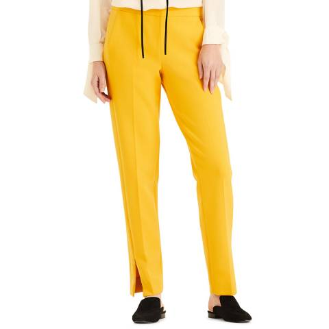 Amanda Wakeley Yellow Sculpted Peg Stretch Trousers