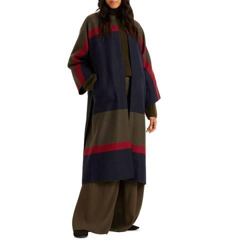 Amanda Wakeley Midnight Stripe Wool Coat