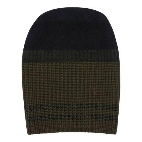 Amanda Wakeley Black Multi Double Stripe Cashmere Hat