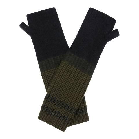 Amanda Wakeley Black Double Stripe Cashmere Gloves