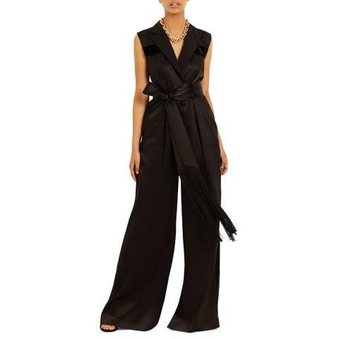 Amanda Wakeley Black Silk Wide Leg Jumpsuit