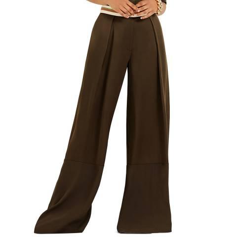 Amanda Wakeley Khaki Satin Wide Leg Trouser