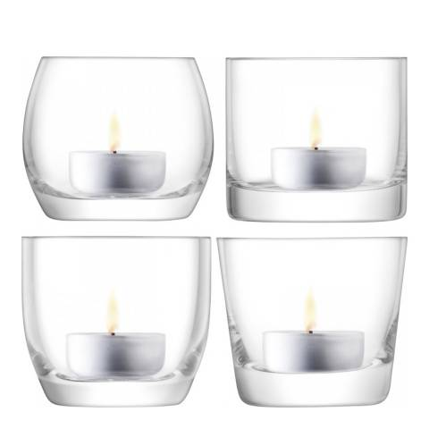 LSA Lulu Tealight Holder H6.5cm/Ø7.5cm Clear Assorted x 4