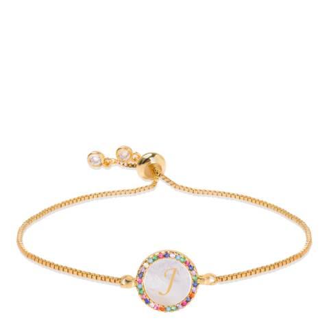 """Liv Oliver 18K Gold Plated Mother Of Pearl Initial """"J"""" Bracelet"""