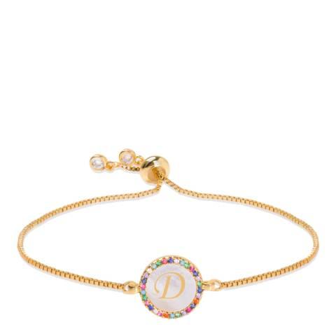 """Liv Oliver 18K Gold Plated Mother Of Pearl Initial """"D"""" Bracelet"""