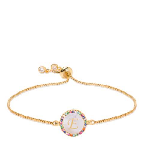 "Liv Oliver 18K Gold Plated Mother Of Pearl Initial ""E"" Bracelet"