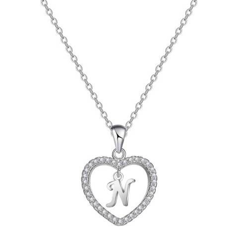 """Liv Oliver Silver Plated Heart Initial """"N"""" CZ Necklace"""