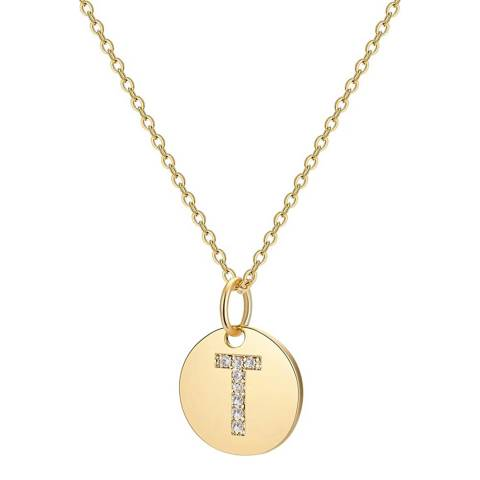 "Liv Oliver 18K Gold Plated ""T"" Initial CZ Disc Charm Necklace"