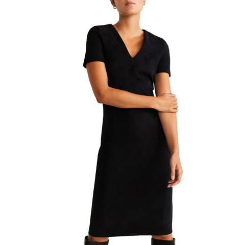 Mango Black Seam-Detail Shift Dress