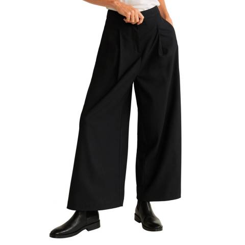 Mango Black Dart Palazzo Stretch Trousers