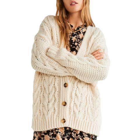 Mango Ecru Knitted Braided Cardigan
