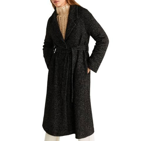 Mango Black Belted Wool Coat