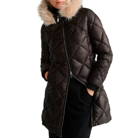 Mango Chocolate Faux-Fur Quilted Coat