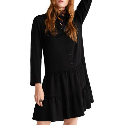 Mango Black Ruffled Shirt Dress