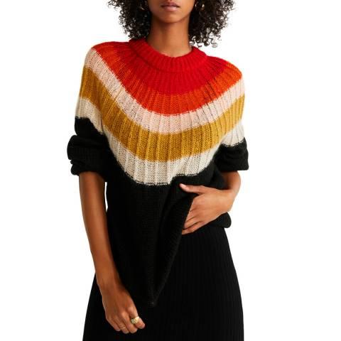 Mango Black Multicolour Knit