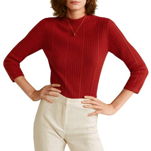 Mango Red Ribbed Knit