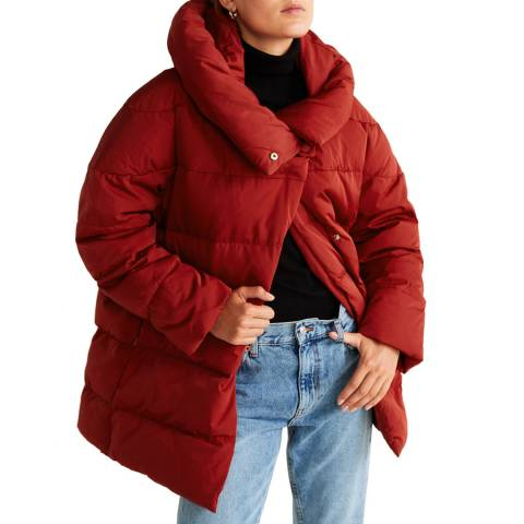 Mango Red Hood Quilted Coat