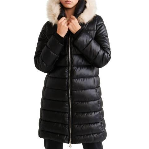 Mango Black Quilted Long Coat