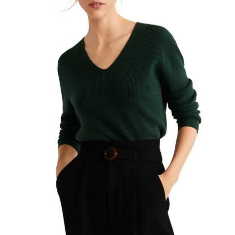 Mango Dark Green V-Neckline Knit