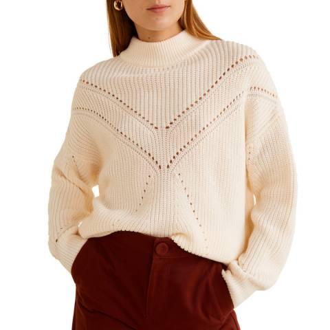 Mango Ecru Contrasting Knit