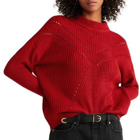 Mango Red Contrasting Knit